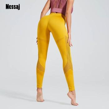 Nessaj Spandex 15% Leggings Women Solid Seamless Fitness Jeggings Knitted Slim Mesh Pant Legging Fitness Pant For Woman Clothes 1