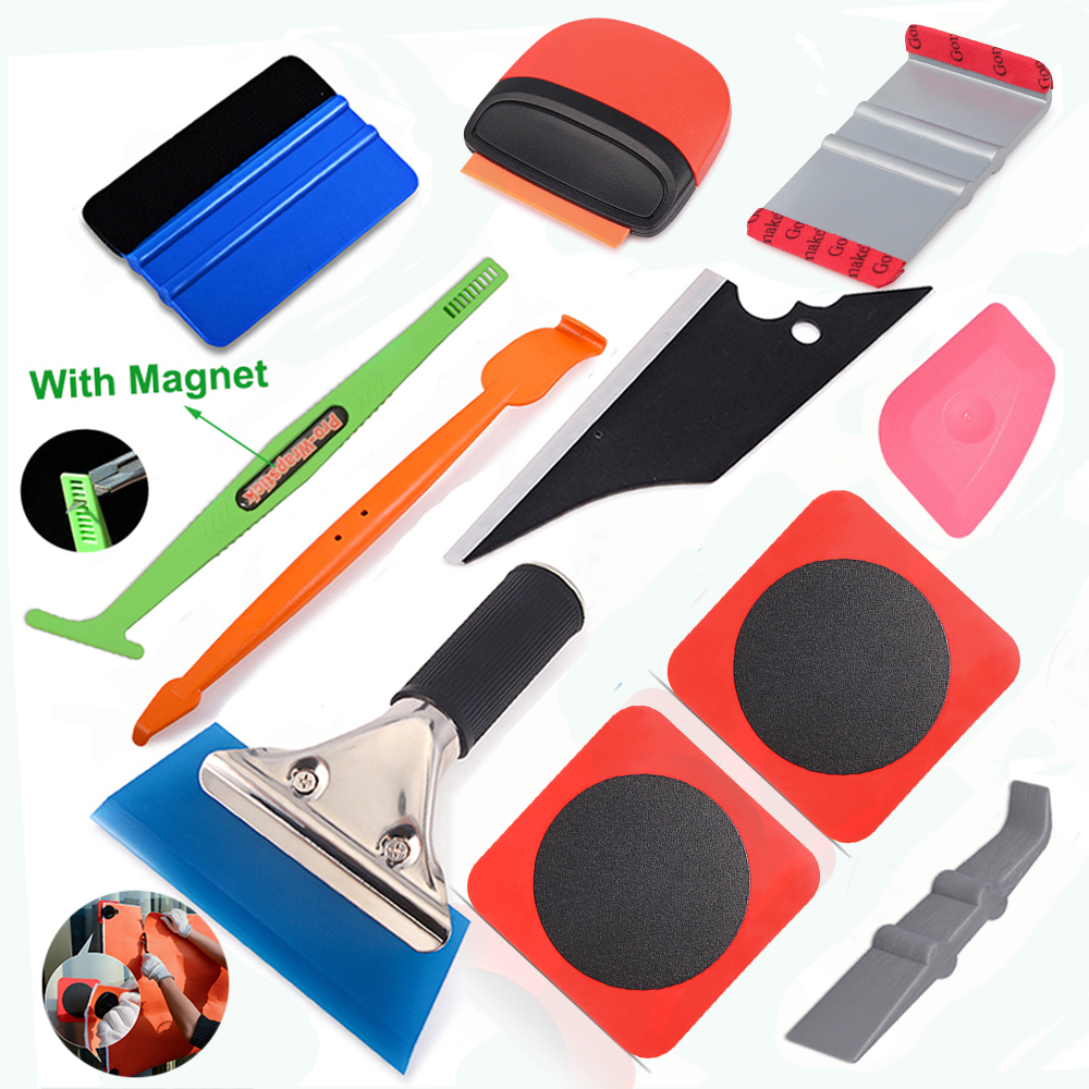 Gloves 3 Kinds of Squeegee Felts Tint Magnet holders Vinyl Cutters Wool squeegee FOSHIO Car Wrap Application Kit include 4 Inch Film Squeegees