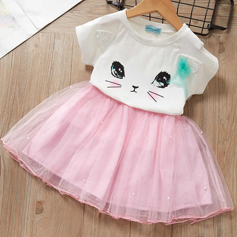 מקרית בנות שמלות חדש קיץ ילדים בגדי אופנה קריקטורה חמוד ילדה כדור שמלת בנות סביב צוואר חתול מודפס נסיכת שמלה