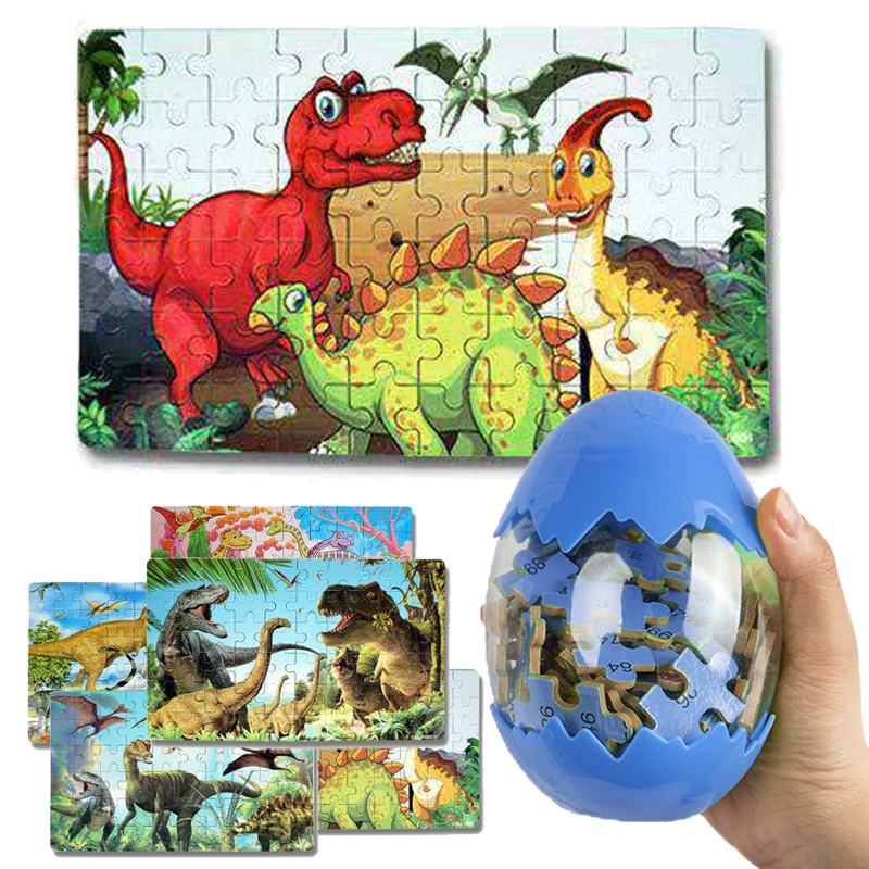 60Pcs Wooden Puzzles Dinosaur Toys Big Dinosaur Egg Packaging Puzzle Jigsaw Board Animal 3D Puzzle Educational Toys Kids Gifts 1