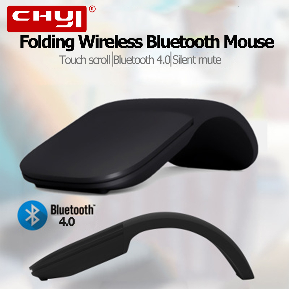 CHYI Bluetooth 4.0 Wireless Foldable Laser Arc Touch Computer Mouse Ultra Thin Gaming Folding Mause For Microsoft PC Laptop