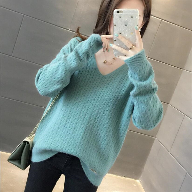 2019 Spring New V-neck Solid Color Twist Sweater Bottoming Shirt Pullover Sweater Female Loose Long-sleeved Wild Tide