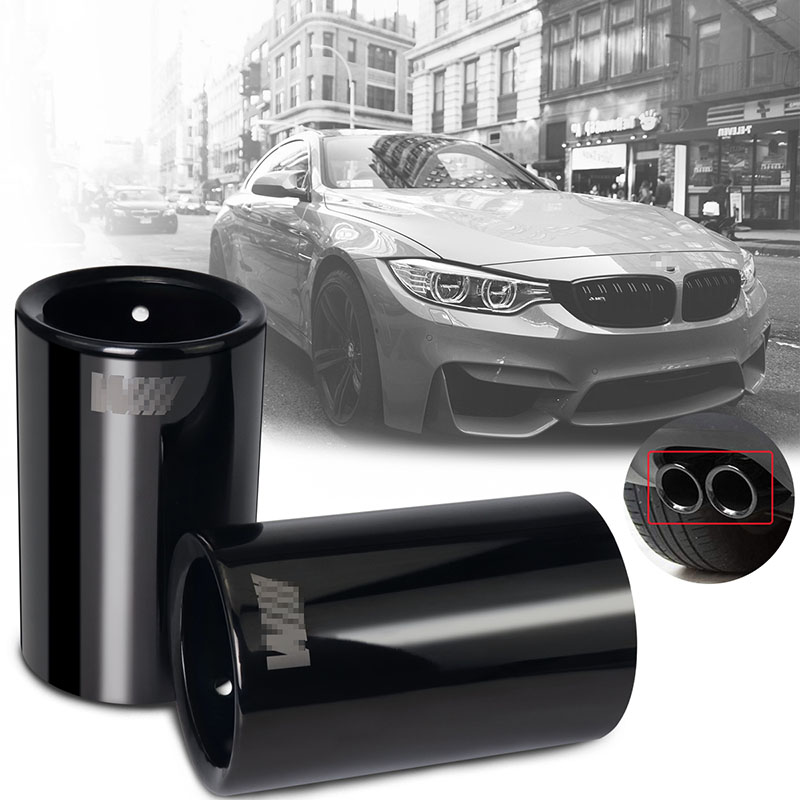 1X Exhaust Pipe Tip Car Styling For <font><b>BMW</b></font> <font><b>E30</b></font> E36 E46 E90 E91 E92 E93 F30 <font><b>320i</b></font> M Power LOGO Car Muffler Turbo Sound Whistle image