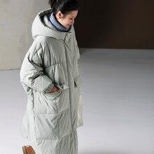MICOCO Y7886 Koreanische version mit kapuze lose große version druck nebel blau dicke warme unten jacke frauen winter