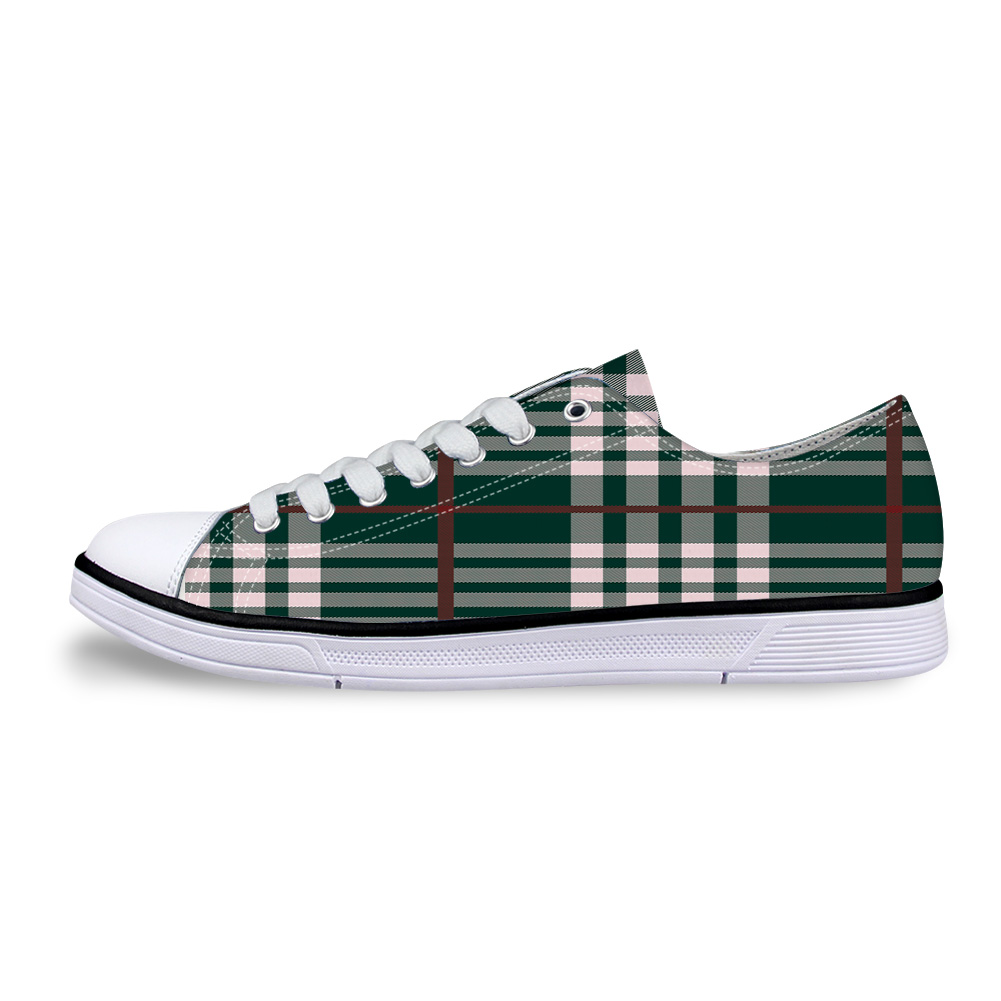 Cheap Green Plaid In Scottish Style Unisex Canvas Shoes For Men Classic Flats Canvas Shoes Teen Boys Studnets Low Top Sneakers