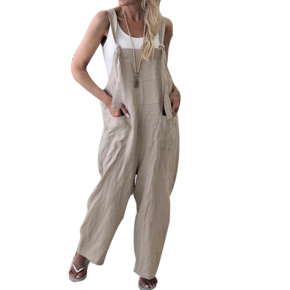 Women Casual Rompers Jumpsuits Harem Bib Pants Baggy Long Trousers Overalls