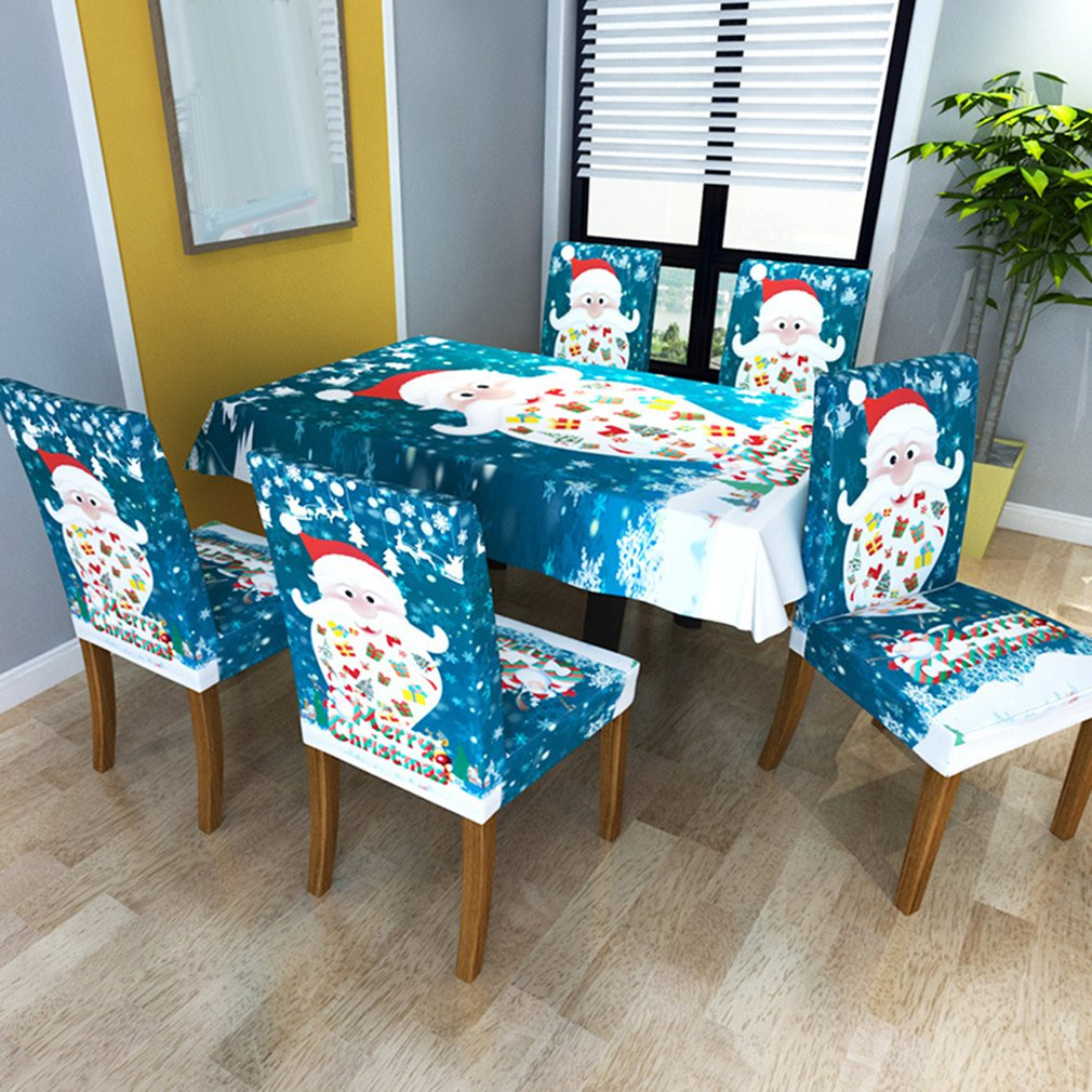 Creative Printing Stretch Christmas Tablecloth/Chair Cover Christmas Style Simple Modern Table Decoration
