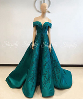 Long Evening Dresses 2019 Cap Sleeve V neck Beaded Applique Emerald Green African Formal Women Party Gowns