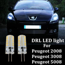 2X автомобильные светодиодсветодиодный дневные ходовые огни DRL лампы для 2009 + Peugeot 3008 2008 5008 без ошибок hp24w G4 12 в светодиодный дневные ходовые о...