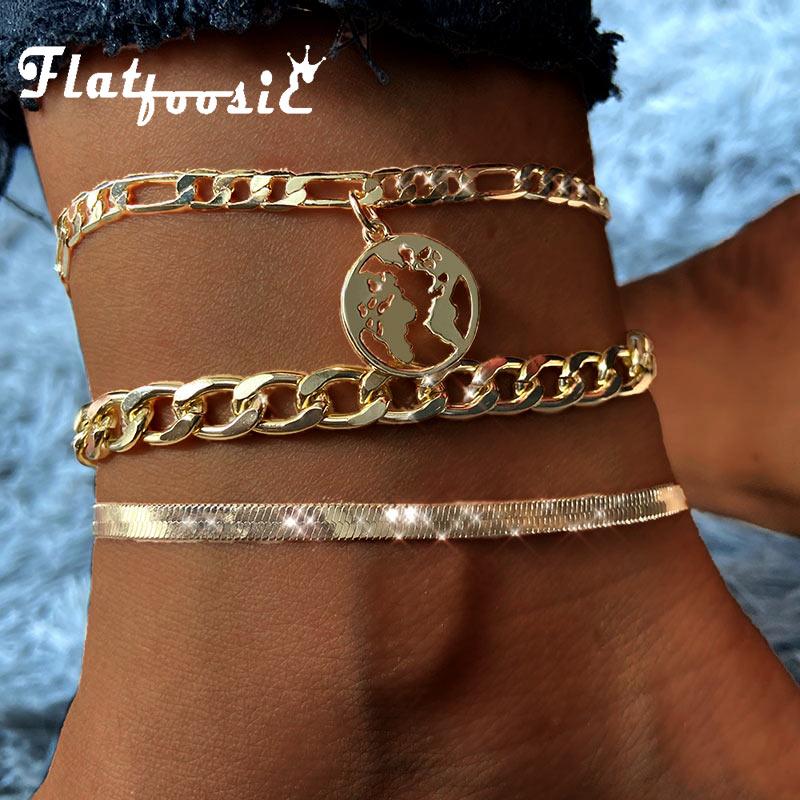 Flatfoosie 3pcs/set Vintage World Map Anklets For Women Gold Silver Color Metal Anklet Bracelet Boho Summer Beach Foot Jewelry