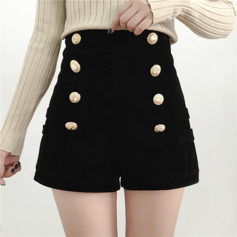 Autumn Winter Shorts Women's Korean High-Waist Double-breasted Velvet Shorts OuterWear Thick Casua Wide-Leg Boots Short