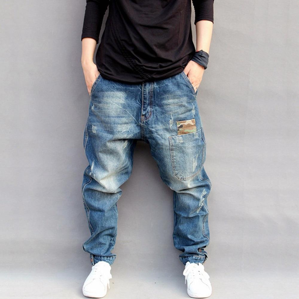 Lugentolo Mens Jeans Harem Pants Hip Hop Mid Loose Medium Zipper Fly Full Length Plus Size Little Feet Ripped Jeans for Men
