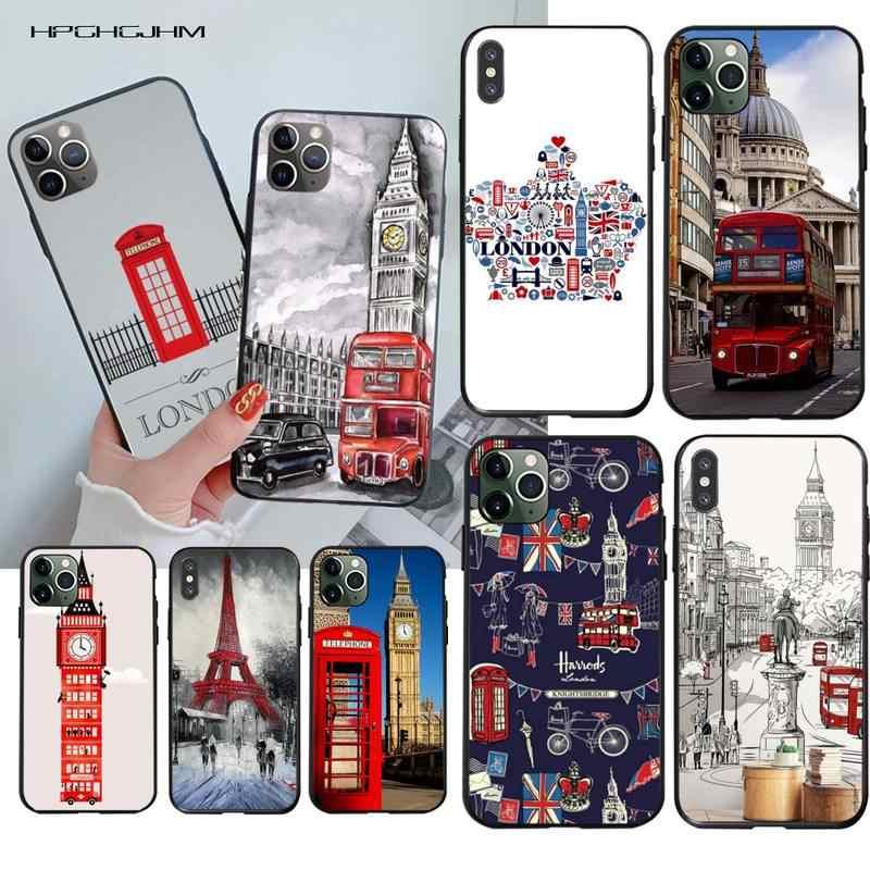 HPCHCJHM Londres autobús rojo Big Ben Cartel de la cubierta de la caja del teléfono para iPhone 11 pro XS MAX 8 7 6 6S Plus X 5S SE 2020 XR caso