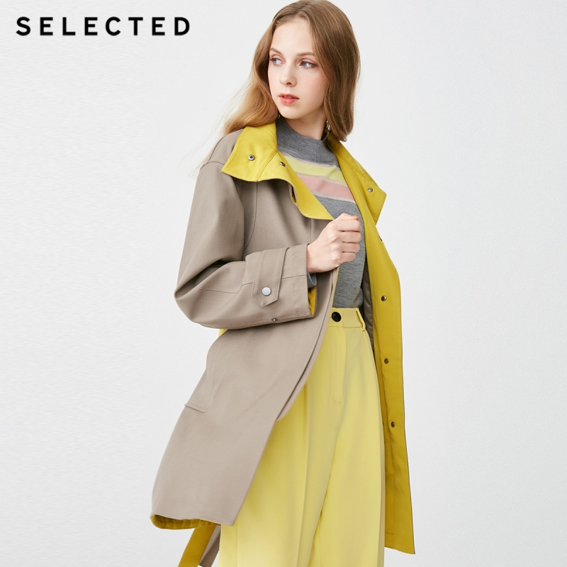 SELECTED Women's Assorted Colors Medium Length Wind Coat S|419121505