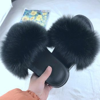 Puimentiua Summer Fluffy Fur Slippers Shoes Women Real Flip Flop Flat Slides Outdoor Sandals Ladies