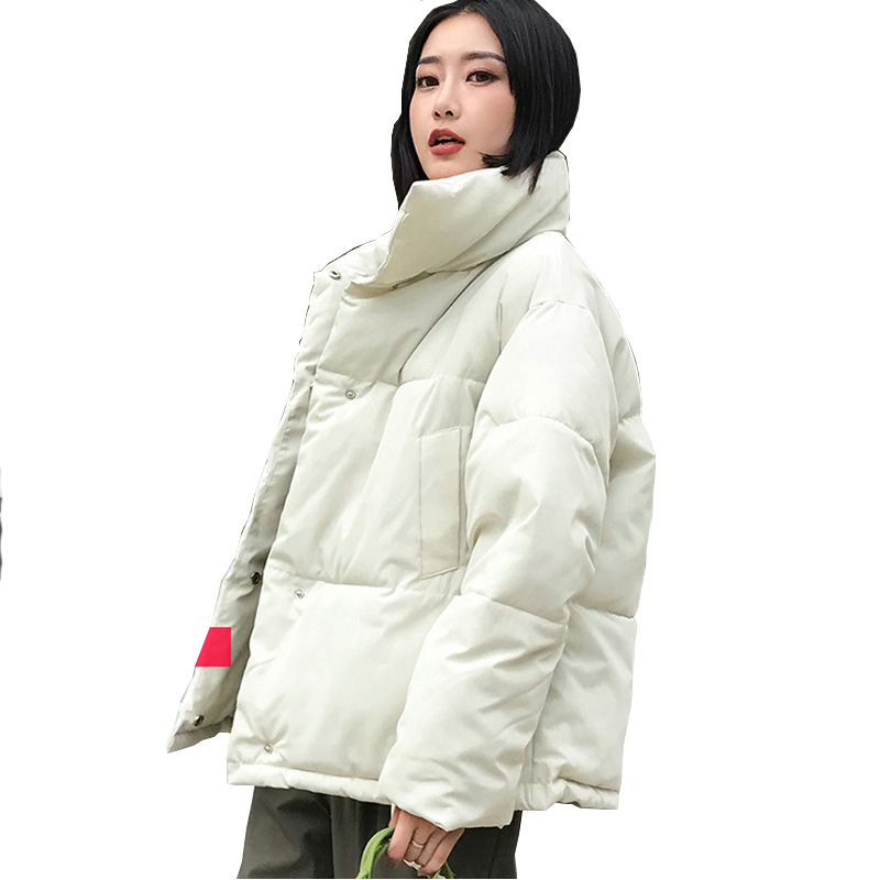 Stand Collar Winter Jacket Women Solid  Womens Basic Jackets Outwear Short Coat Jaqueta Feminina Inverno 2019 New