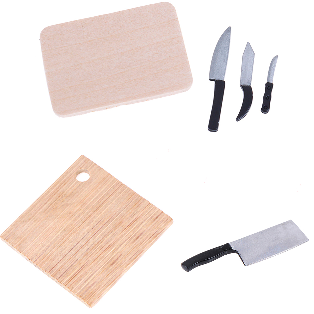 Kitchen Breakfast Scene Bread Egg Flour Cake Knife Chopping Block Set Dollhouse Kitchenware Accessories 1:12 Miniature