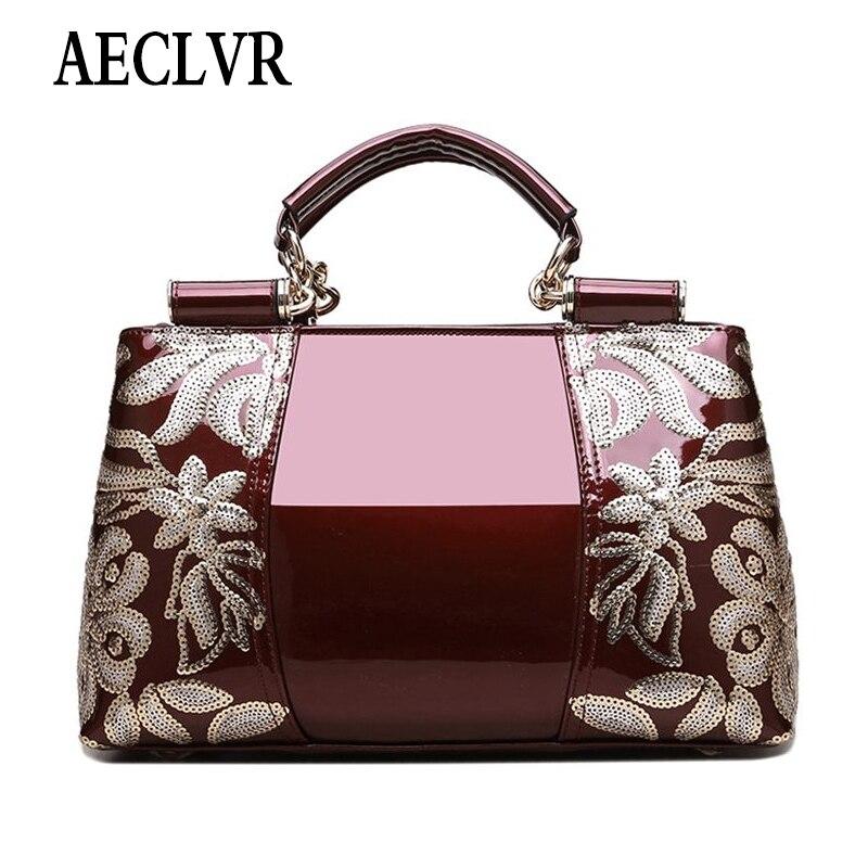 AECLVR Women Luxury Handbag Female Leather Evening Bag Girls Purses&Handbag For Women Ladies Embroideried Shoulder Messenger Bag