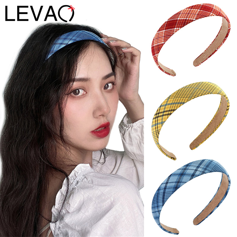 LEVAO Fashion Plaid Hair Bands Headbands Female Bezel Ladies New Turban Women Hairbands Girls Hair Jewelry Accessories Head Hoop