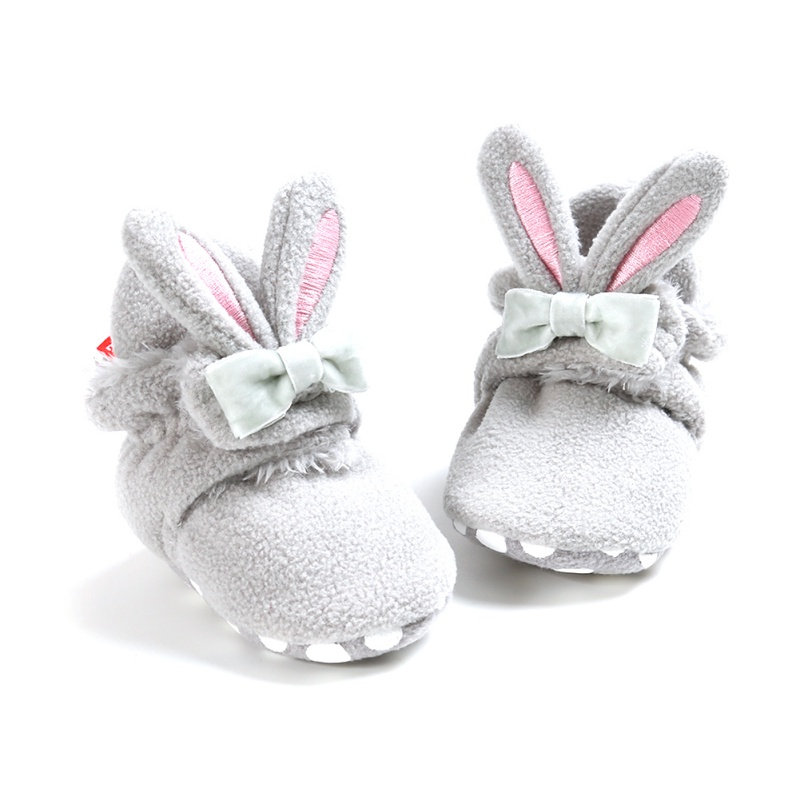 Newborn Baby Shoes Toddler Kid Baby Girls Snow Boots Non-Slip Cute Rabbit Ear Bowknot Winter Warm Soft Soled Booties