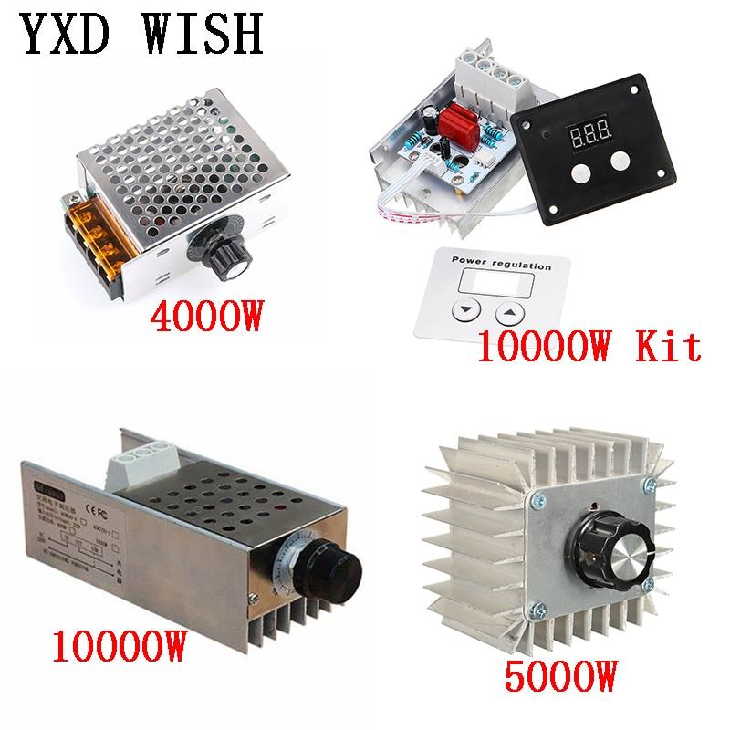 AC 220V 4000W/5000W/10000W SCR Voltage Regulator Dimming LED Dimmer Motor Speed Controller Thermostat Dimer 220 V Power Supply