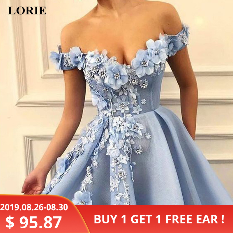 LORIE Prom-Dresses Flowers Robe-De-Soiree Tulle Backless The-Shoulder Appliques Beautiful