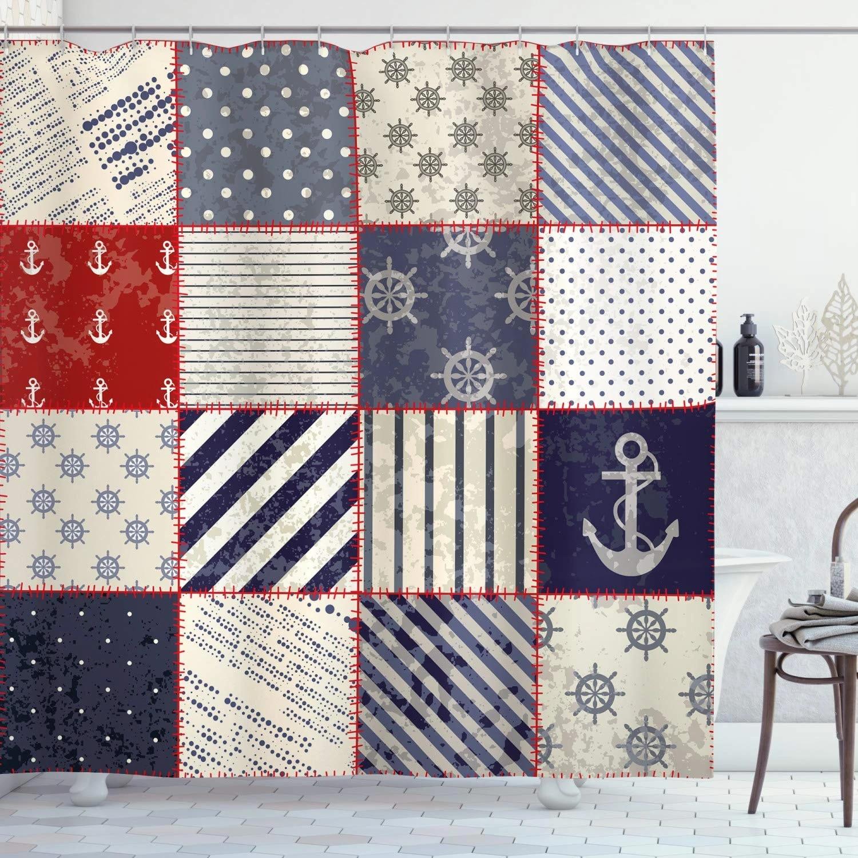 Nautical Shower Curtain Maritime And Nautical Life Design With Vintage Sailor Knot Anchor Motifs Cloth Fabric Bathroom Decor Set Shower Curtains Aliexpress