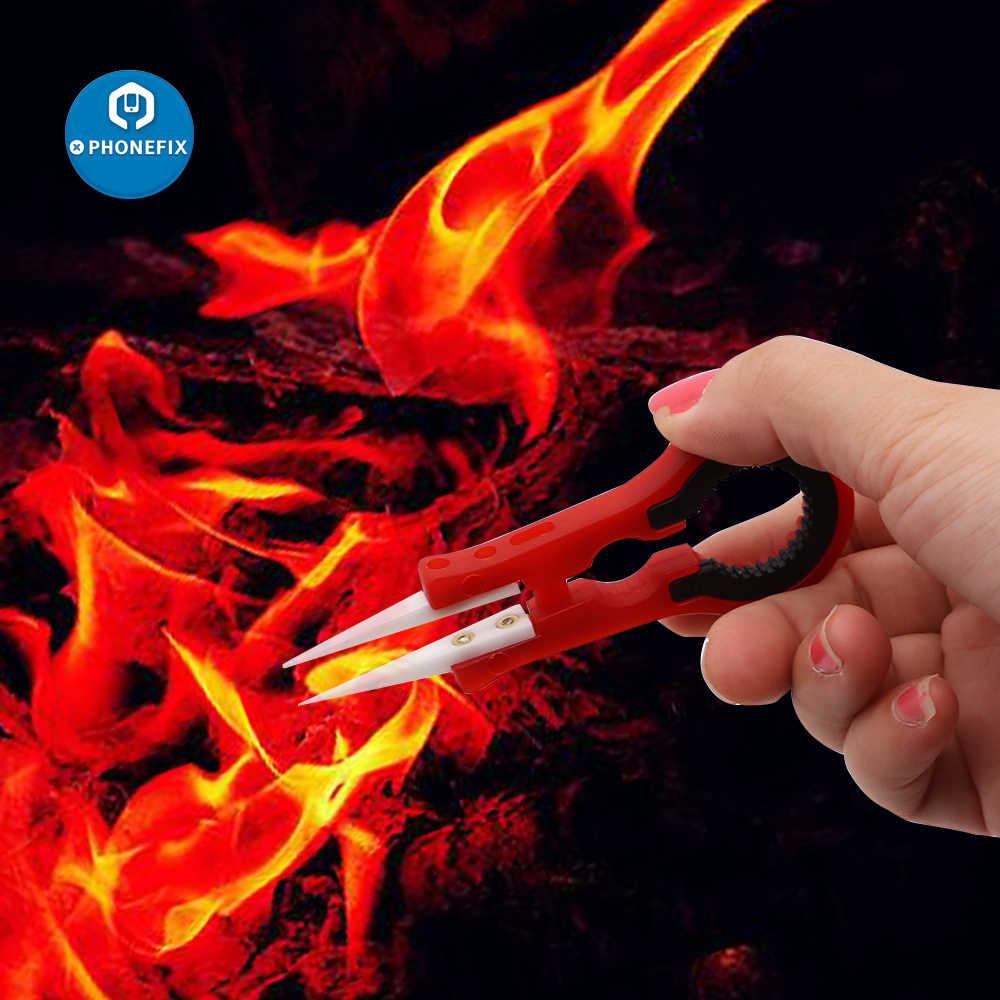 Szczypce ceramiczne PHONEFIX drobne końcówki z odpornością na ciepło elektroniczny papierosowy rozpylacz do waporyzatora DIY narzędzie do napraw ręcznych