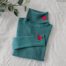 Turtleneck Long Sleeves Sweaters Winter Korean Women Sweater Heart Embroidery Women Knitted Pullovers Female Elastic Tops(China)