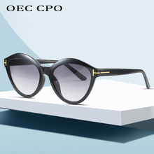OEC CPO Brand Design Vintage Cat Eye Sunglasses Women Sexy Gold T Decoration Gradient Sun Glasses For Fashion UV400 O92