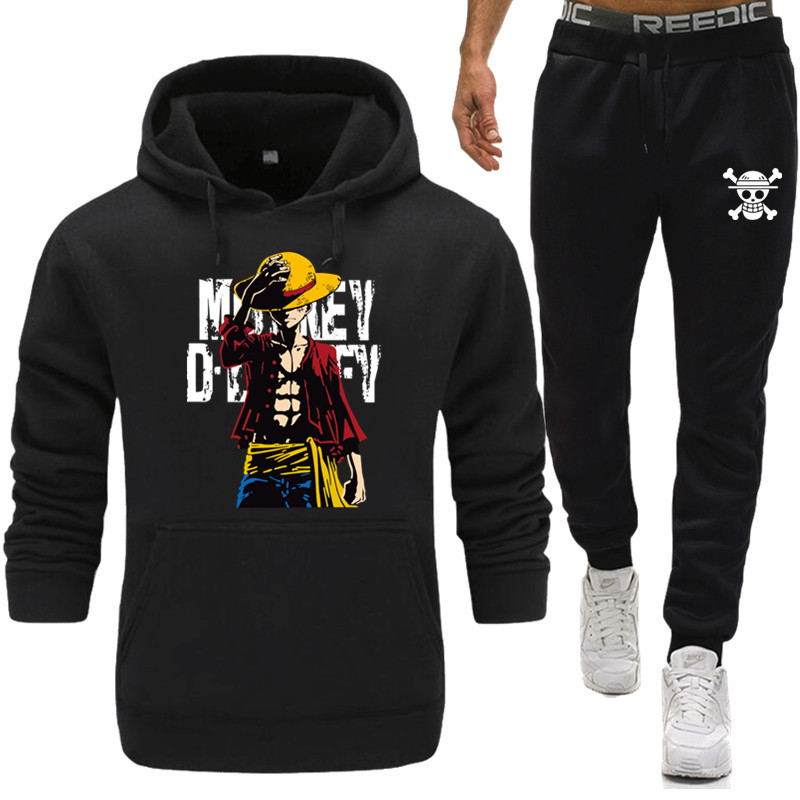 New Brand Clothing Men's Pullovers Cotton Men Tracksuits Hoodie Two Pieces + Sweatpants Autumn Winter Fleece Hooded Pullover