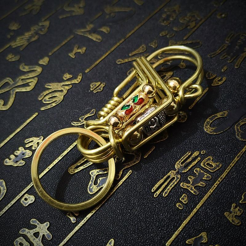 Brass Key Ring Buddha's Head Punk Personalized Keychain Hook Car Keychain Pendant Retro Belt Hanging Key Holder Hot Unique Gift