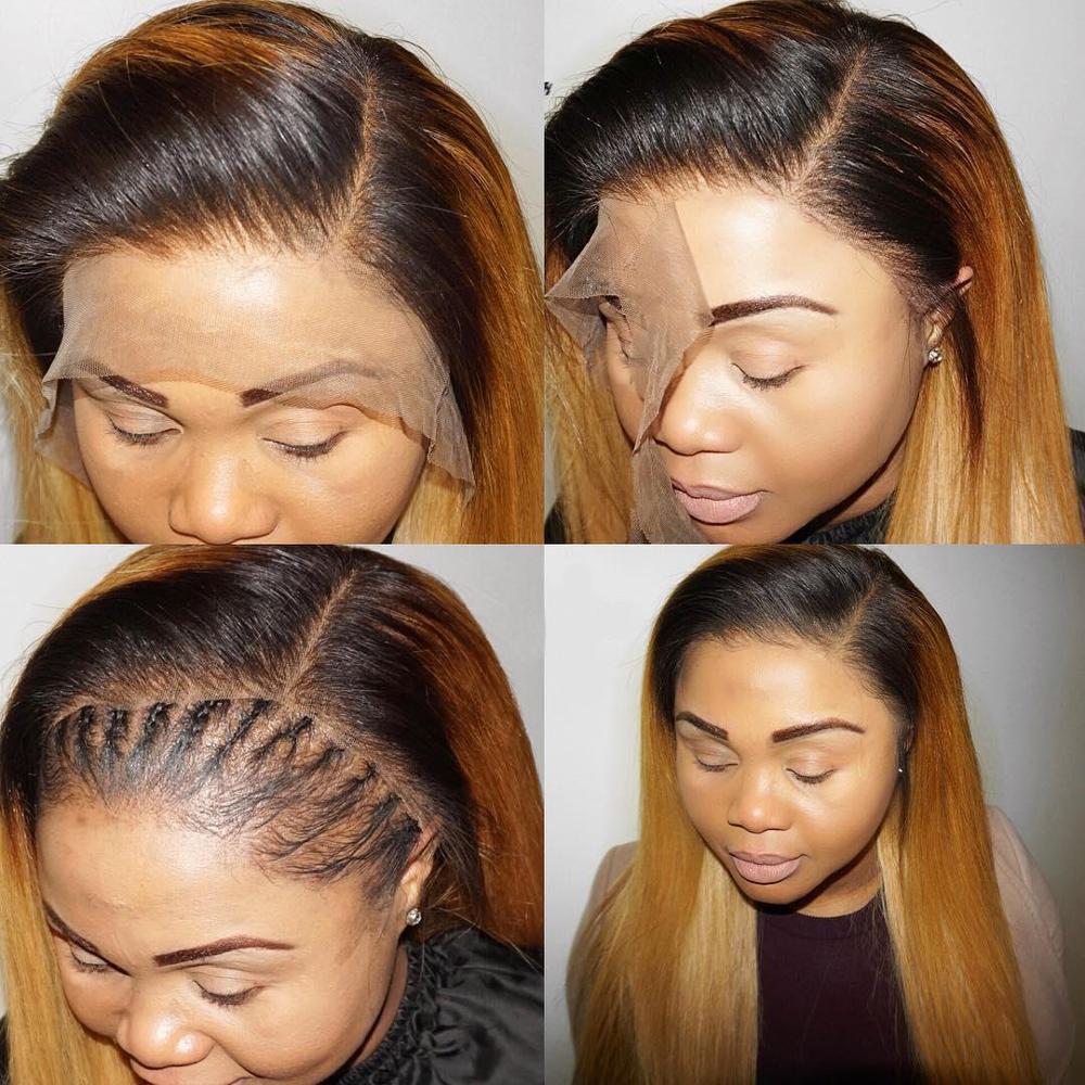1b/27 Омбре прямые человеческие волосы на кружеве парики медовый блонд основные Remy бразильские парики на кружеве для черных женщин - 5