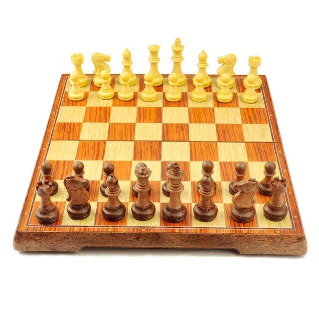 Enssemble d'échecs International, platea magnétique pliant, de haute qualité, plastique style grain de bois 1