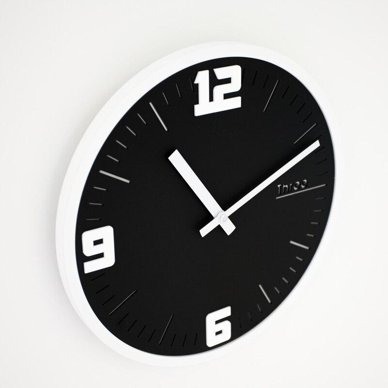 Mandelda 12 дюймов круглые деревянные рамки классические часы ретро не тикающие 3D кварцевые домашние декоративные настенные часы акриловые стр... - 4