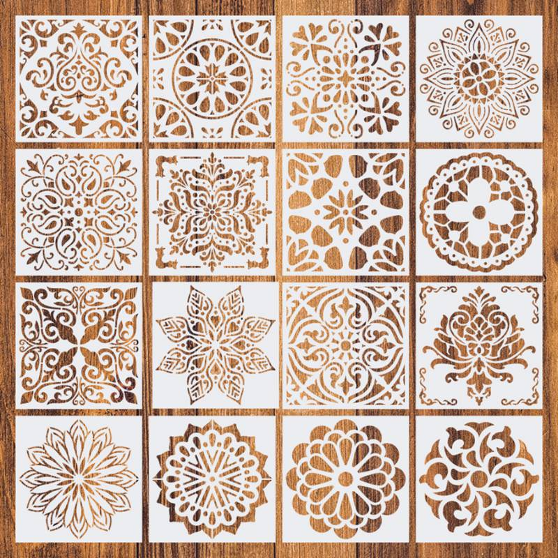 16pcs15*15 Painting Stencil DIY Drawing Mandala style Laser Cut Wall Stencil Painting for Wood Floor