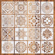 16pcs15*15 Painting Stencil DIY Drawing Mandala style Laser Cut Wall Stencil Painting for Wood Floor Tiles Fabric Template