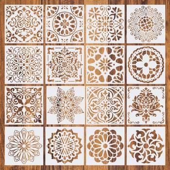 16pcs15*15 Painting Stencil DIY Drawing Mandala style Laser Cut Wall for Wood Floor Tiles Fabric Template