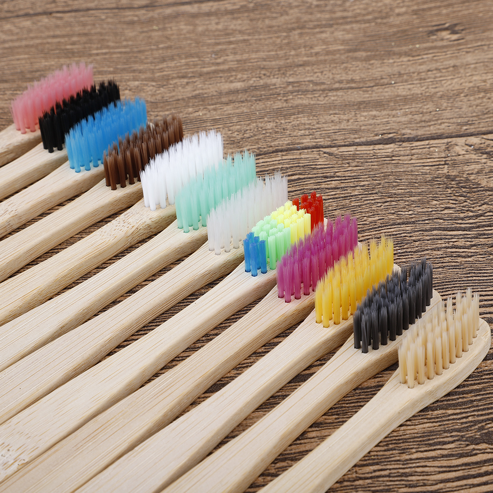 10 Pcs Natural Bamboo Toothbrush Rainbow Whitening Soft Eco-Friendly Toothbrushes Dental  Oral Care Set Hot Sale