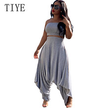 TIYE Gray Skinny Strapless Tube Rompers Sleeveless Streetwear Jumpsuits Summer Elegant Loose Women Casual Playsuits 2 Pieces