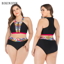New Sexy Plus Size Swimsuit High Neck Bikini Women Backless Front Zipper Swimwear L-4XL Girl High Waist Bathing Suit Bikini Set high neck mesh panel bikini set