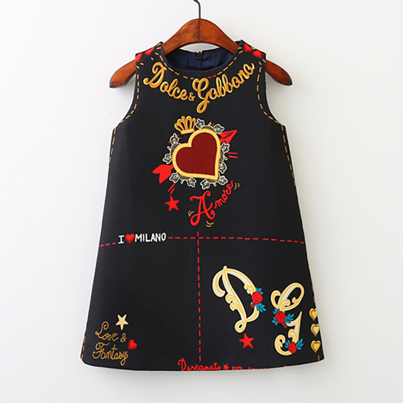 Girls Dress Spring Fall European and American Style Embroidery Flower Vest Dress Toddler Baby Girls Clothing 2-8Yrs