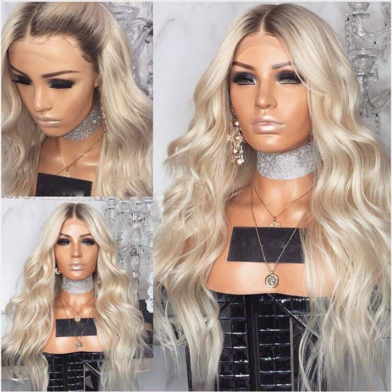 Synthetic Lace Front Wigs For Black Women Long Curly Wavy Hair 24 Inch Platinum Blonde Ombre Lace Front Wig Heat Resistant Fiber