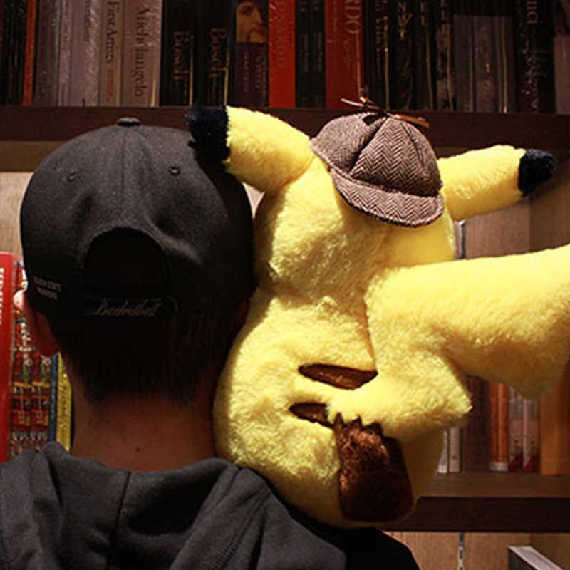 ホット販売 28 センチメートル素敵な探偵ピカチュウぬいぐるみぬいぐるみソフト映画人形アニメ枕子供の誕生日 Chrismas ギフト