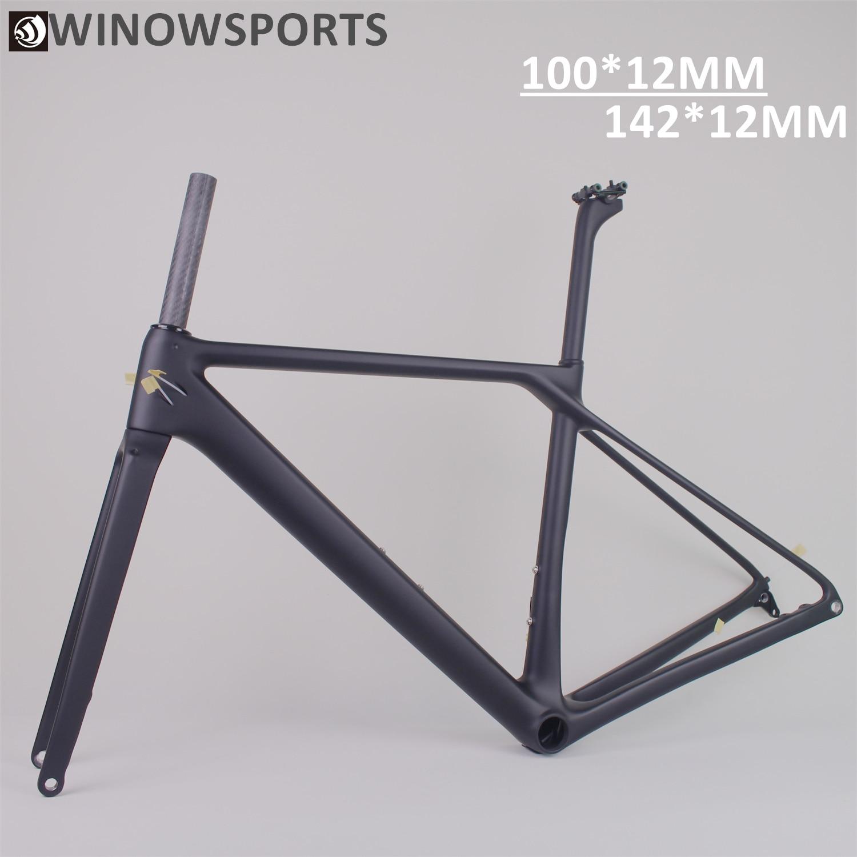 Winowsports New EPS Technology T1000 Carbon Flat Mount Carbon Disc Brake 700C Road Bike Frame
