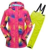 Kids Snow Warm Sport Suit for Girls Winter Outdoor Children Clothing Set Windproof Ski Jackets Pants 2pcs Sets