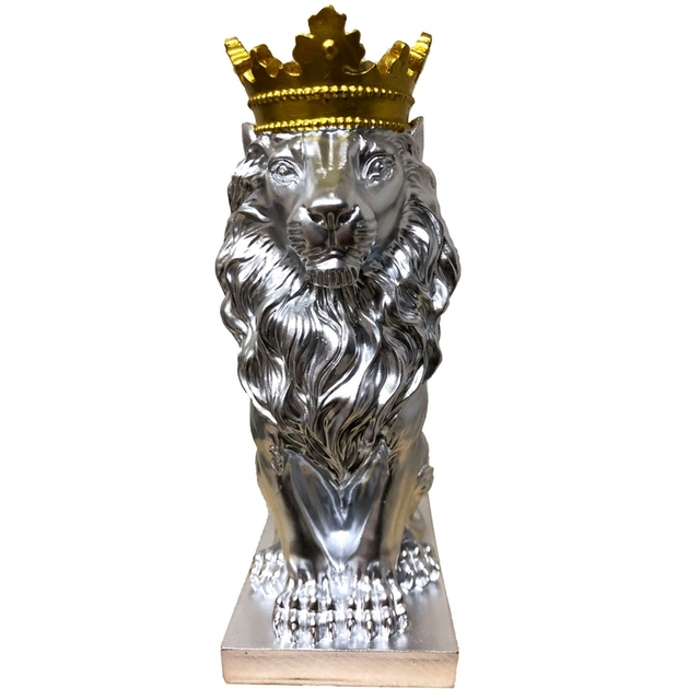 Abstract Crown Lion Sculpture Home Office Bar Male Lion Faith Resin Statue Model Crafts Ornaments Animal Origami Art Decor Gift 5