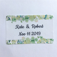 100 Pieces Custom Wedding Labels,Personalized Rectangle Adhesive Stickers, Personalized Text Gift Box Decoration Seals