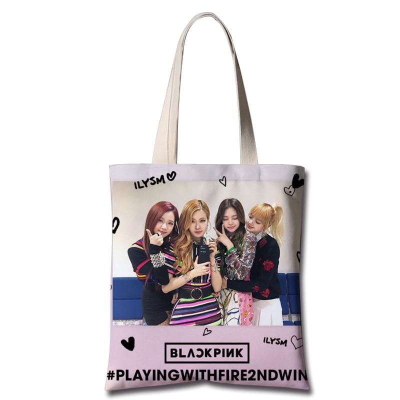 Kpop Blackpink Same 2019 Korean New Canvas Shoulder Bags Women Summer Streetwear Bag Fashion Fans Shoulder Bag High Quality