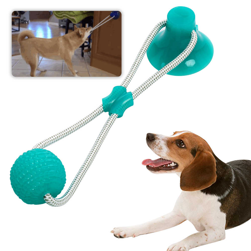 Dog Chew Toys Interactive Puppy Molar Training Rope Dog Toy Self-Playing Rubber Ball Toy with Suction Cup Molar Chew Toy Cleaning Teeth for Pet Dog Puppy Volwco Multifunction Pet Molar Bite Toy